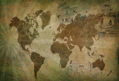 Cuadro mapa de mundo antiguo
