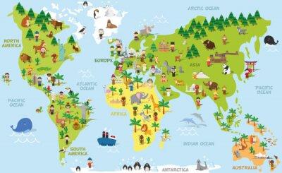 Cuadro Mapa de mundo divertido de la historieta con los niños de diversas nacionalidades, animales y monumentos de todos los continentes y océanos. Ilustración vectorial para la educación preescolar y los ni