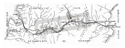 Cuadro Mapa del Canal de Panamá, vintage ilustración grabada. Enciclopedia industrial E.-O. Lami - 1875.
