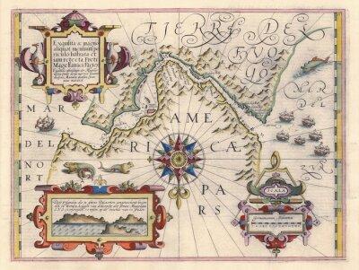Cuadro Mapa del Estrecho de Magallanes