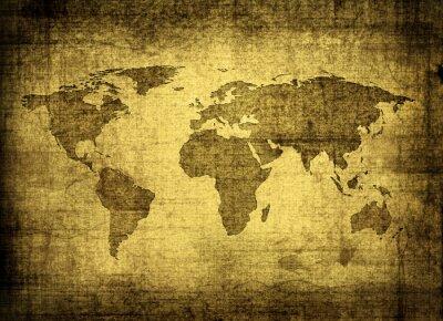 Cuadro mapa del grunge del mundo