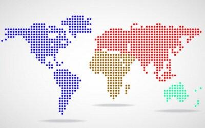 Cuadro Mapa del mundo abstracto de puntos redondos