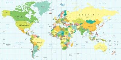 Cuadro Mapa del Mundo - altamente detallada ilustración vectorial.