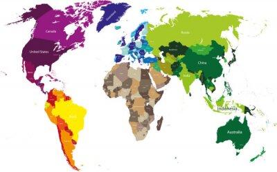 Cuadro mapa del mundo coloreado por continentes