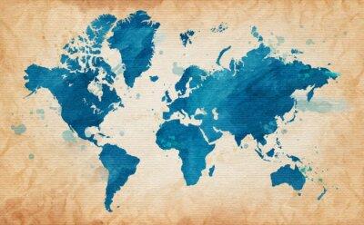 Cuadro mapa del mundo con una textura de fondo y manchas de acuarela