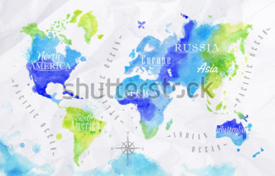 Cuadro Mapa del mundo de acuarela en colores verde y azul sobre un fondo de papel arrugado