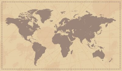 Cuadro Mapa del mundo del vintage Viejo