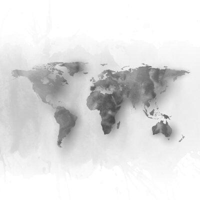 Cuadro Mapa del mundo elemento, mano abstracta gris acuarela dibujada