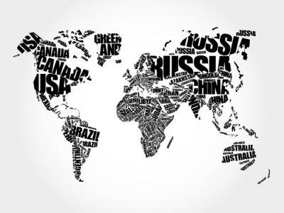 Cuadro Mapa del mundo en el concepto de nube de palabras de la tipografía, nombres de países