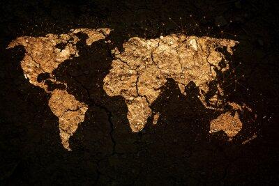 Cuadro Mapa del mundo en el fondo del grunge