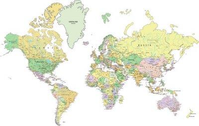 Cuadro Mapa del mundo político altamente detallado con el etiquetado.