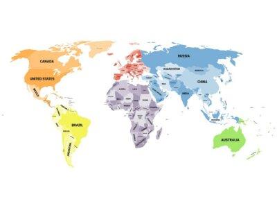 Cuadro Mapa del mundo político en el fondo blanco.