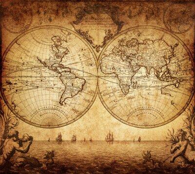 Cuadro mapa del vintage del mundo 1733