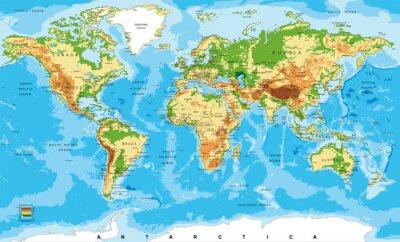 Cuadro Mapa físico del mundo