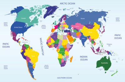 Cuadro mapa geográfico y político mundial