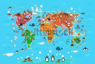 Cuadro Mapa mundial con animales. Mono y erizo, oso y canguro, liebre lobo panda y pingüino y loro. Ilustración de vector de mapa mundial de animales en estilo de dibujos animados