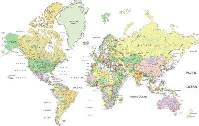 Cuadro Mapa político altamente detallado del mundo con el etiquetado.