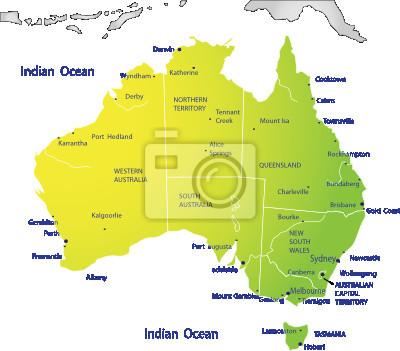 Mapa político de australia pinturas para la pared • cuadros político ...