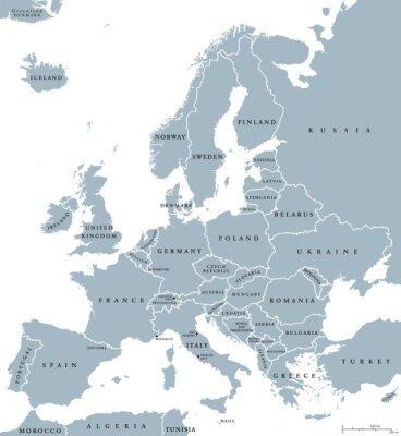 Cuadro Mapa político de los países de Europa con las fronteras nacionales y los nombres de país. Etiquetado y escalado en inglés. Ilustración sobre fondo blanco.