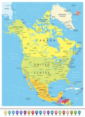 Cuadro Mapa político detallado de América del Norte con iconos de navegación