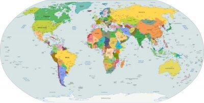 Cuadro Mapa político global del mundo, vector