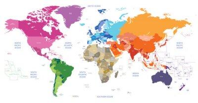 Cuadro Mapa político mundial coloreada por continentes