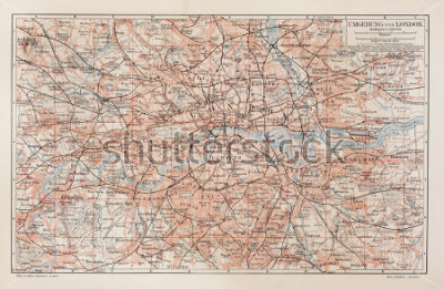 Cuadro Mapa vintage de Londres y alrededores - Imagen de la colección de libros Léxico Meyers (escrito en lengua alemana) publicado en 1908.