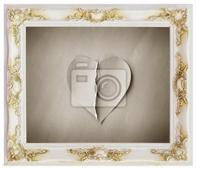 Marco blanco y con el corazón roto pinturas para la pared • cuadros ...