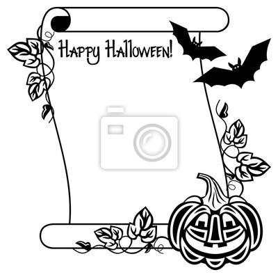 Marco blanco y negro con calabaza y texto de halloween \
