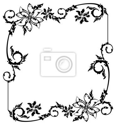 Marco blanco y negro del grunge con los elementos florales ...