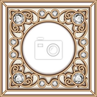 Marco de círculo de joyas de oro pinturas para la pared • cuadros ...