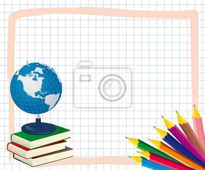 Marco de la escuela con lápices de colores, libros y el mundo ...