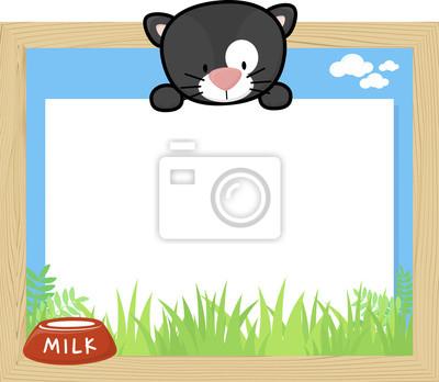 Marco de madera con gato negro lindo bebé y tablero en blanco ...