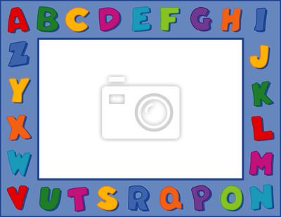Marco del alfabeto, copia espacio, carteles, escuela, guardería ...
