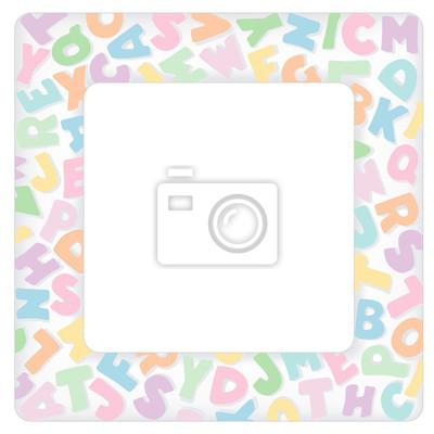 Marco del alfabeto, en colores pastel carta multicolor tinte ...