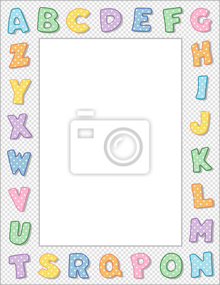 Marco del alfabeto, en colores pastel, copia espacio, escuela ...
