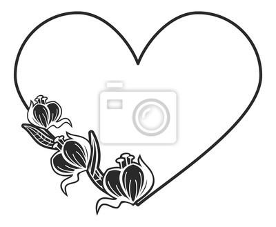 Marco En Forma De Corazón Blanco Y Negro Con Siluetas Florales