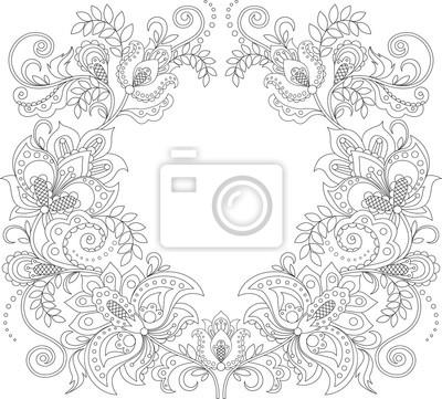 Marco floral. patrón floral decorativo. fondo del ornamento ...