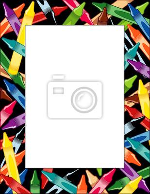 Marco lápices de colores, borde negro multicolor, cartel copia ...