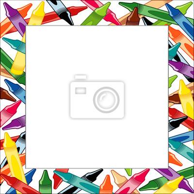 Marco lápices de colores, multicolor frontera cuadrado blanco ...