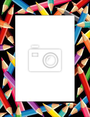 Marco lápices, multicolor borde negro cuadrado, cartel copia ...