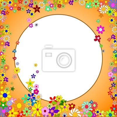 Marco naranja de flores de colores sobre un fondo blanco pinturas ...