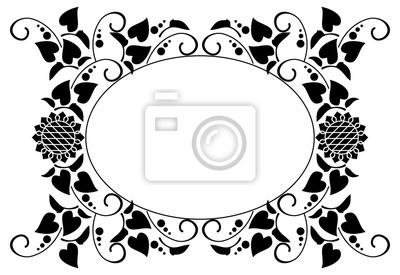 Marco Redondo Blanco Y Negro Con Siluetas Decorativas De Girasoles