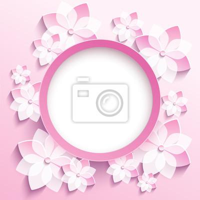 Marco redondo con 3d sakura rosado, tarjeta de felicitación pinturas ...