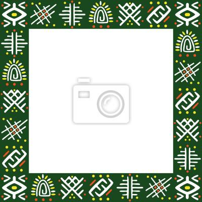 Marco verde con el ornamento africano pinturas para la pared ...
