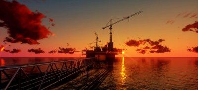 Cuadro Marino plataforma de petróleo y equipo de perforación en el tiempo de suspensión. Construcción de proceso de producción en el mar. La energía de alimentación del world..3d render