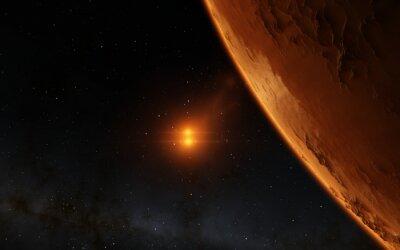 Cuadro Marte ilustración científica - paisaje planetario