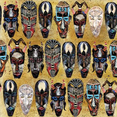 Cuadro Máscara africana de patrones sin fisuras. Fondo de tótem tribal étnico dibujado a mano