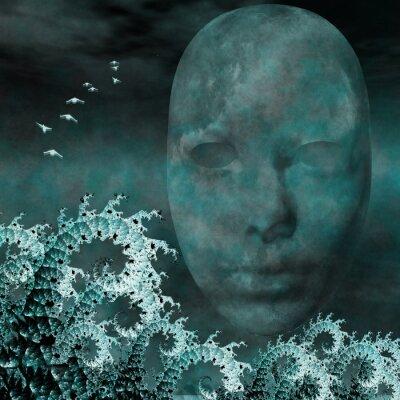 Cuadro Máscara Surrealista y los fractales como las olas del mar