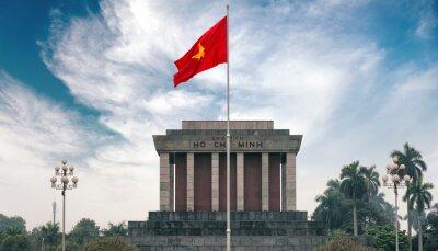 Cuadro Mausoleo de Ho Chi Minh en Hanoi con bandera comunista roja